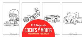 10 Dibujos de Coches y motos para Imprimir y Colorear