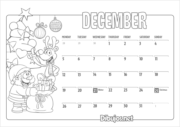 December Kids Calendar : Nuevo learn english coloring calendar for kids