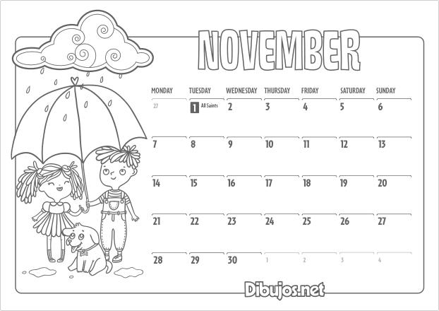 November Calendar Kids : Nuevo learn english coloring calendar for kids