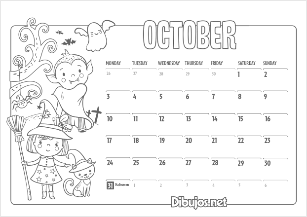 Nuevo Learn English Coloring Calendar for Kids 2016 Dibujos.net