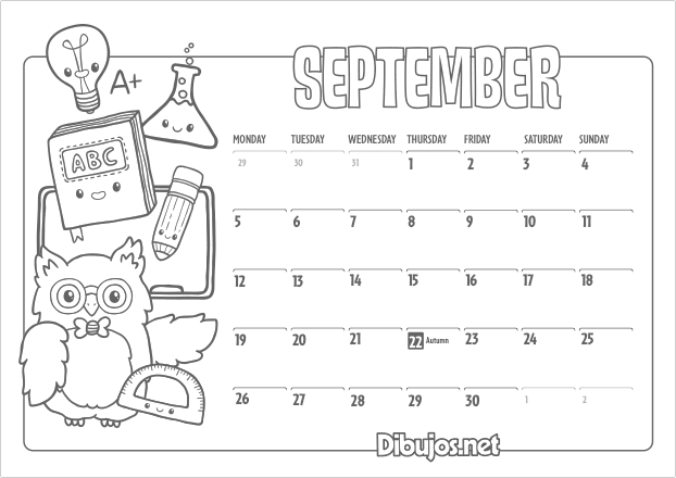 November 2016 Calendar Kids : Nuevo learn english coloring calendar for kids