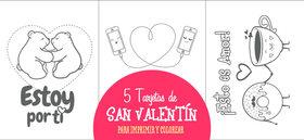 5 tarjetas de San Valentín para imprimir y colorear