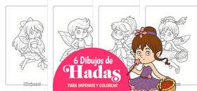 6 Dibujos de Hadas para Imprimir y Colorear