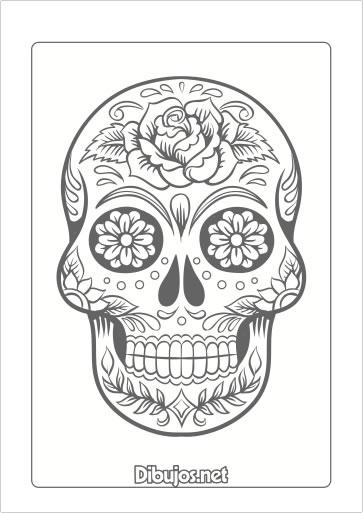 8 dibujos del d a de los muertos para imprimir y colorear - Dessin tete de mort mexicaine ...