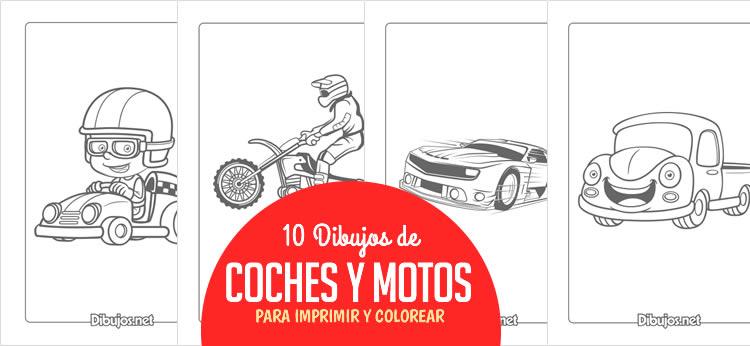 10 Dibujos de Coches y motos para Imprimir y Colorear - Dibujos.net