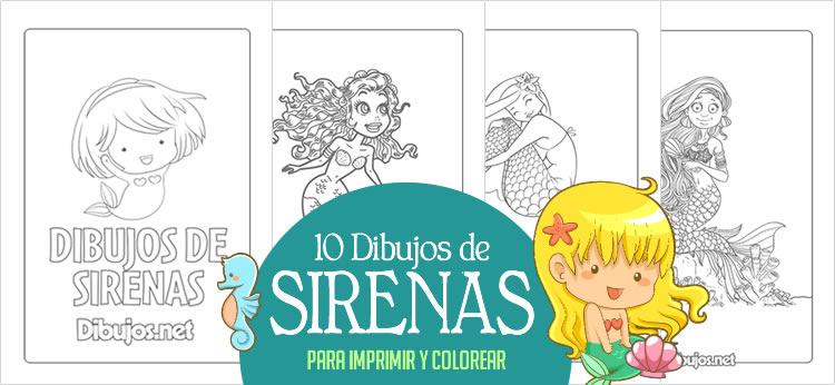 10 Dibujos de Sirenas para imprimir y colorear