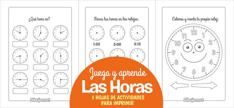 3 Hojas de actividades para aprender a leer las horas