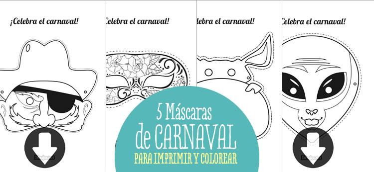 5 máscaras de Carnaval para imprimir y colorear