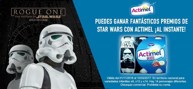 Ahora con Actimel Kids y Star Wars puedes ganar fantásticos premios ¡Al instante!