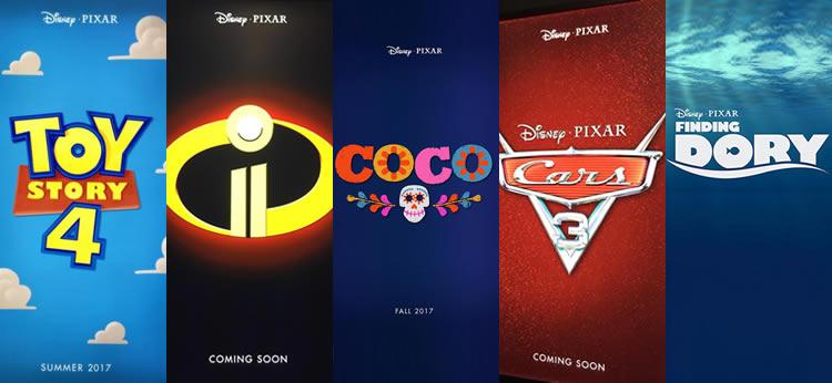 Estrenos de Pixar y Disney para los próximos años 2016, 2017 y 2018.