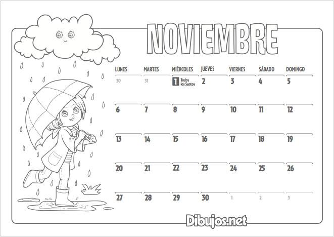 Calendario infantil 2017 para imprimir y colorear - Mes noviembre 2017 ...