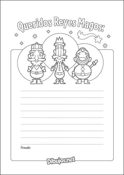 Carta a los Reyes Magos para colorear