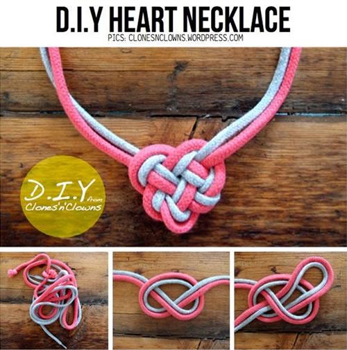 Un collar DIY con forma de corazón