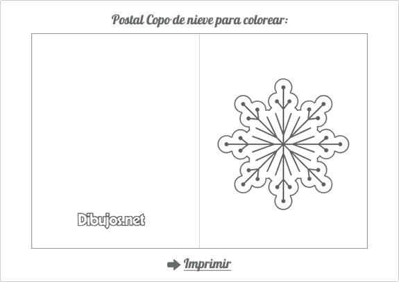 Postal de Navidad para colorear Copo de Nieve