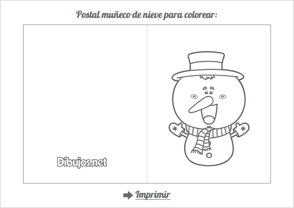 Postal navideña de Muñeco de Nieve para colorear