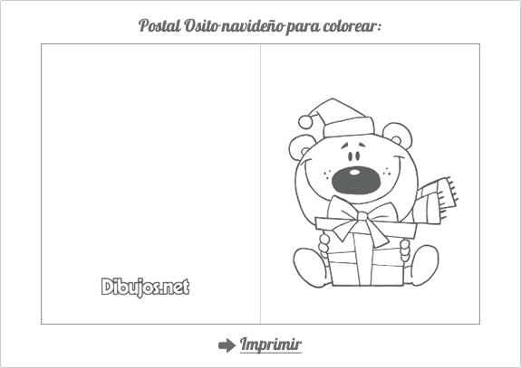 Postal de Navidad para colorear Osito Navideño