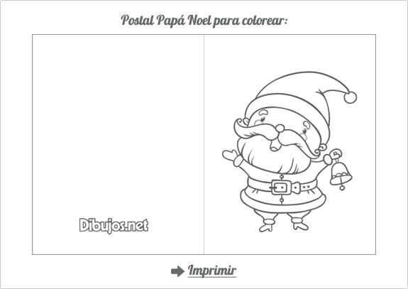 Postal de Navidad para colorear Santa Claus