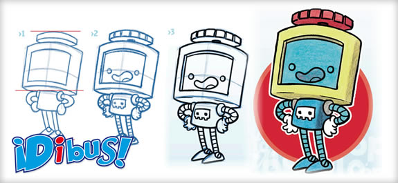 Aprende a dibujar al robot Tuercas de la revista ¡Dibus!