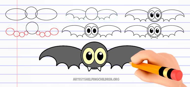 Como dibujar un murciélago de Halloween