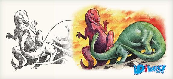Dibuja dos dinosaurios con lápices de tiza pastel