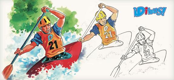 Dibuja un deportista con kayak y píntalo con acuarelas
