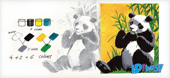 Dibuja un oso panda con temperas