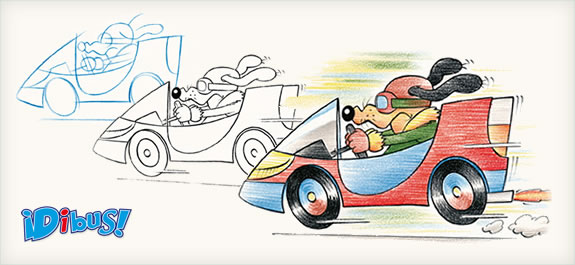 Dibuja un perro conduciendo un coche con lápices de colores