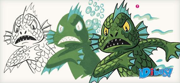 Dibuja un pez mutante con témperas