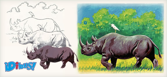 Dibuja un rinoceronte en la selva con témperas