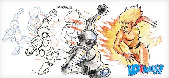 Dibuja unos superhéroes en acción con la técnica de los lápices acuarelables