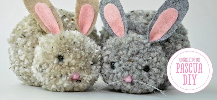 Conejitos de Pascua de pompones DIY