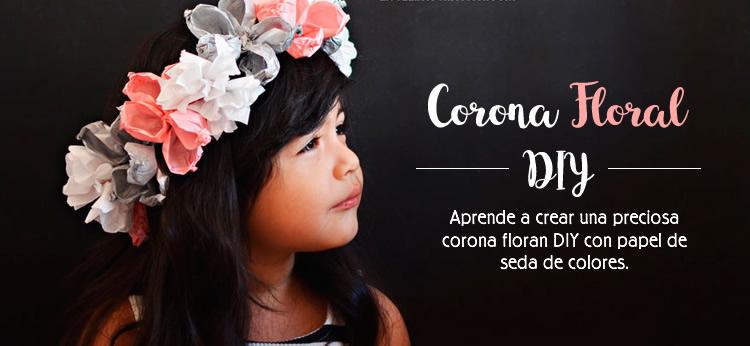 Corona floral de papel DIY