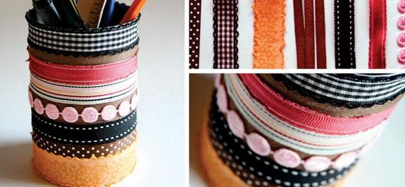 Diseña tu propio porta lápices de escritorio con cintas de colores