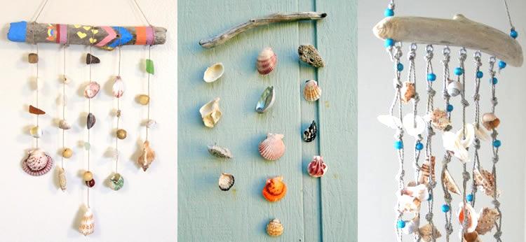 Móvil de conchas marinas DIY