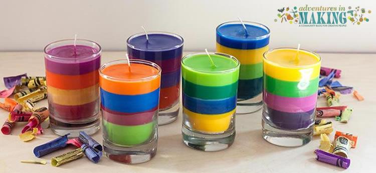 Velas de colores hechas con Crayolas