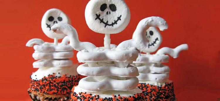Cupcakes esqueleto de Halloween