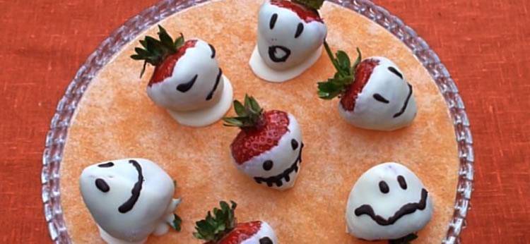 Fresas fantasma para Halloween