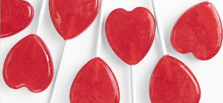 Piruletas de corazones de San Valentín