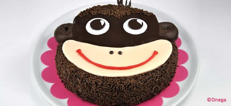 Tarta de chocolate con carita de mono fondant