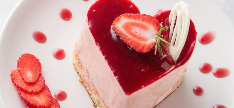 Tarta de queso en forma de corazón para San Valentín