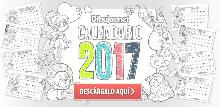 Calendario Infantil 2017 para imprimir y Colorear