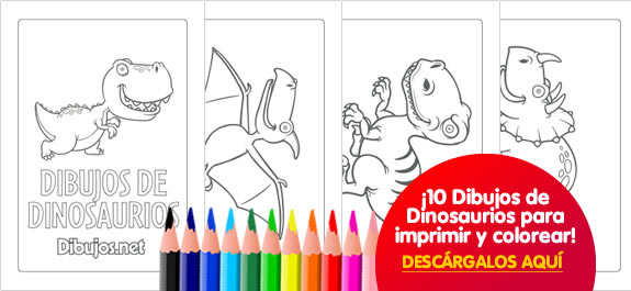 10 Dibujos de Dinosaurios para imprimir y colorear