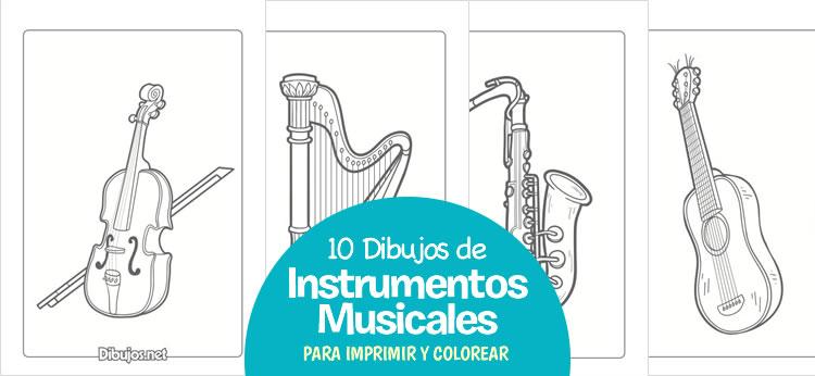 10 Dibujos de Instrumentos Musicales para imprimir y colorear