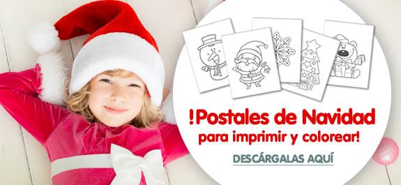 5 postales de Navidad para imprimir y colorear
