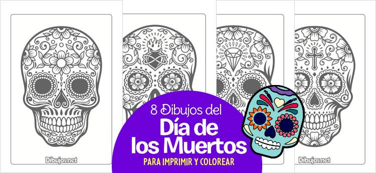 8 Dibujos del Día de los Muertos para Imprimir y Colorear