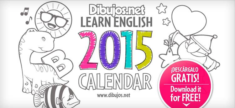 Aprende los meses del año en inglés con el '2015 Calendar Coloring Book' de Dibujos.net