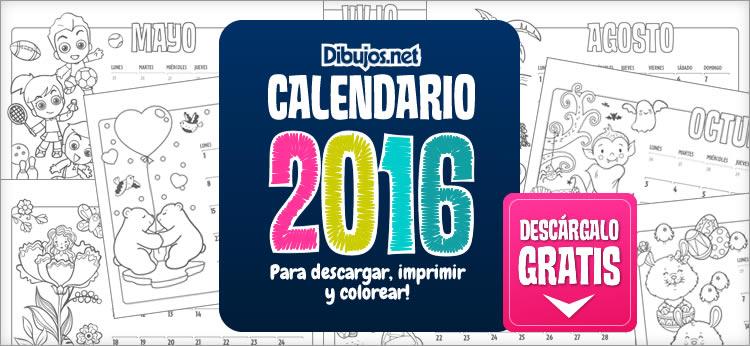 Calendario Infantil 2016 para imprimir y Colorear