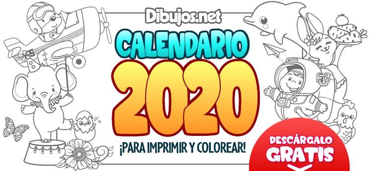 Calendario Infantil 2020 para Imprimir y Colorear