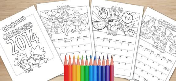 Colorea el 2014 con el Calendario para descargar de Dibujos.net