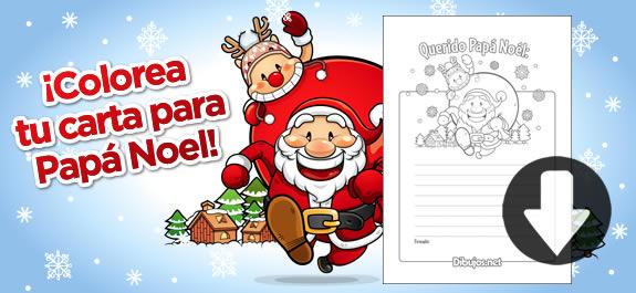 Descarga e imprime la carta para Papá Noel de Dibujos.net. ¡Este año, el color se lo pones tú!
